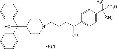 Fexofenadine HCl Formula C32H39NO4